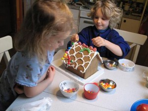 decorating a ginger bread house